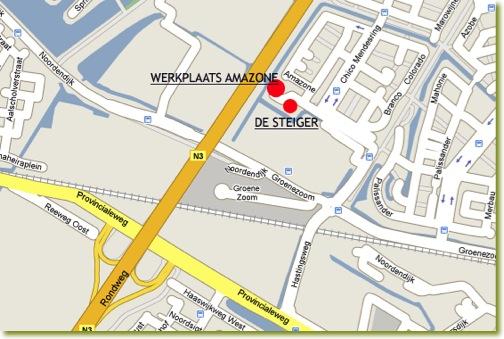 Kaart van de twee vestigingen